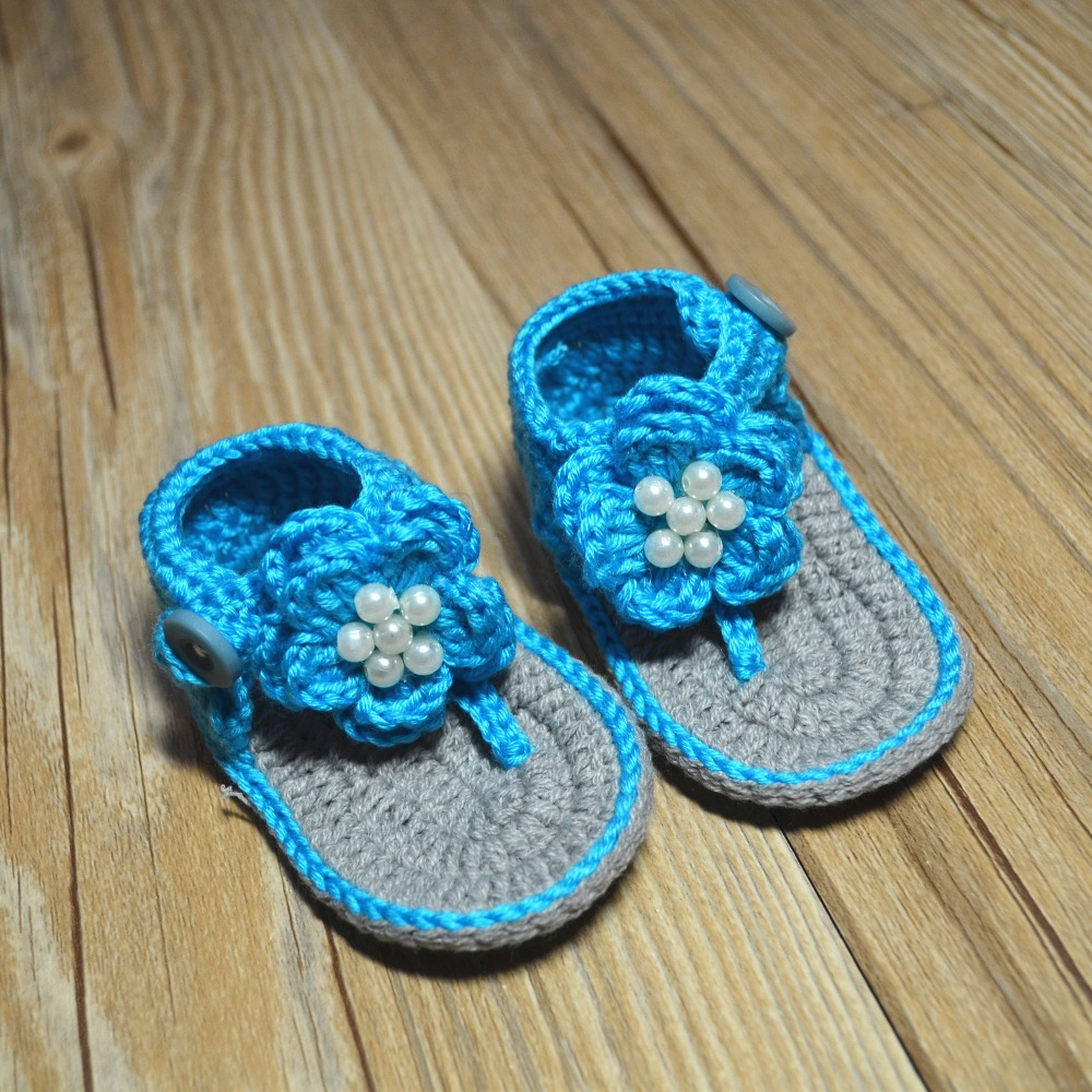 QYFLYXUE- Pure handmade sandals, wool styles, blue multicolor 0-3M, baby shoes,Freeshipping