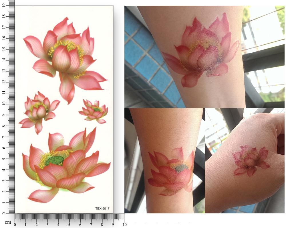 16 Lembar Waterproof Sementara Tato Stiker Transfer Air Bunga Lotus E Elegant Biru Pohon Tirai Pintu Magnet Anti Nyamuk Produk Tampilan