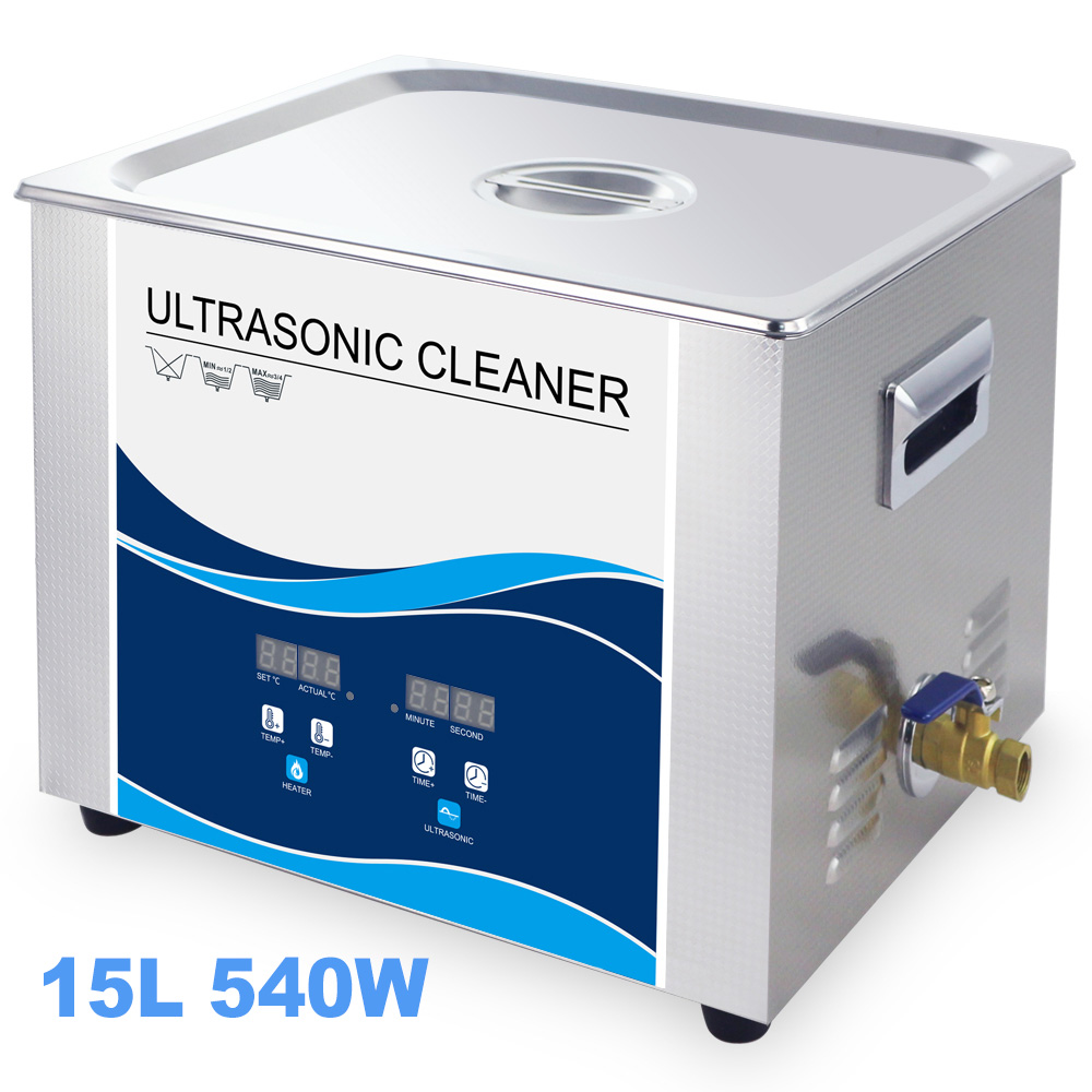 Digital Ultrasonic Cleaner <font><b>15L</b></font> <font><b>Tank</b></font> 360W/540W 40KHZ SUS304 Steel Heating Ultrasonic Remove Oil Rust Of Car Mechanical Spark Plug image