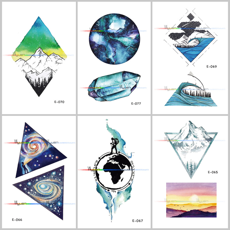 1PCS Waterproof Planet Temporary Tattoo Stickers Original Simple Cosmic Ecology Fake Tattoo Stickers For Women