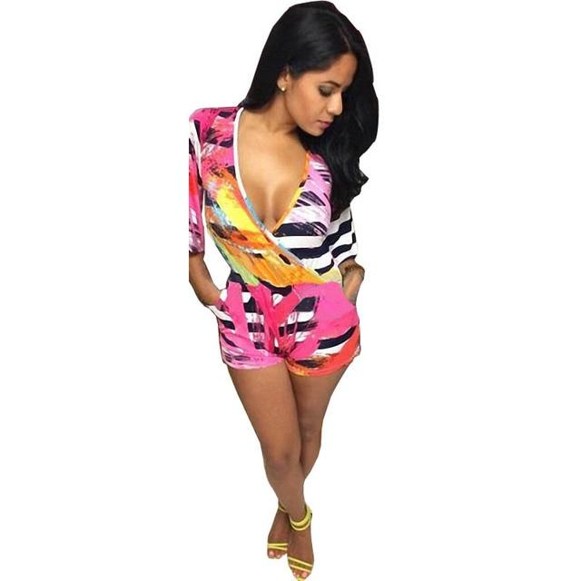 04b431e10598 Trendy Affordable Woman Fashion Sexy Deep V Neck Stripe Printed Half  Sleeves Jumpsuits