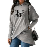 2018 New Fashion DOG Mom Print Hoodies Tops Women Irregular Casual Loog Sleeve Thick Autumn Comfortable Pullovers for Woman