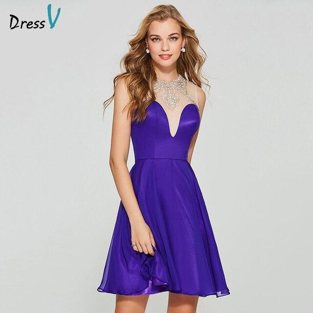 Dressv indigo elegant homecoming dress a line scoop neck sleeveless butoon beading knee length homecoming&graduation dresses