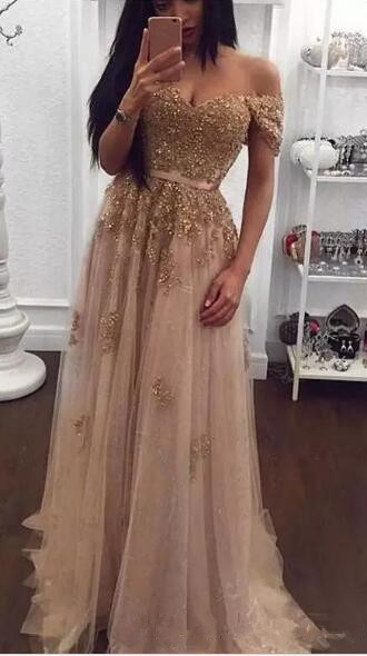 gold Lace Beaded Arabic 2018 Sweetheart A-line vestido longo Prom Vintage Cheap beading Formal Party Gown   bridesmaid     dresses