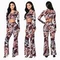 Mulheres duas peças outfits 2016 partido moda outono conjunto O-pescoço manga floral imprimir top curto e fino calças compridas define WD
