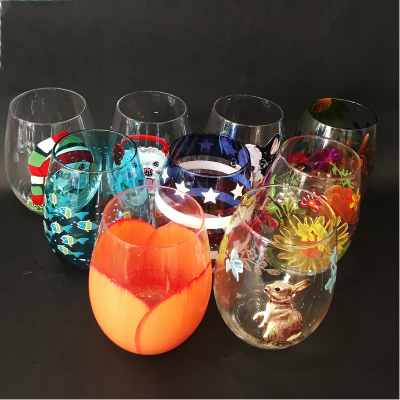 Creative Painted wine Cup Hand painted glass cup stemless wine glass tea Fruit cup beer glass Home Bar Party gift Drinkware in Other Glass from Home Garden