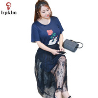Vrouw Jurk Set Lace Bloemen Twee Stukken Casual Zomer Strand Jurk Sets Navy O Hals Korte Mouw Mode Plus Size 4XL YY917