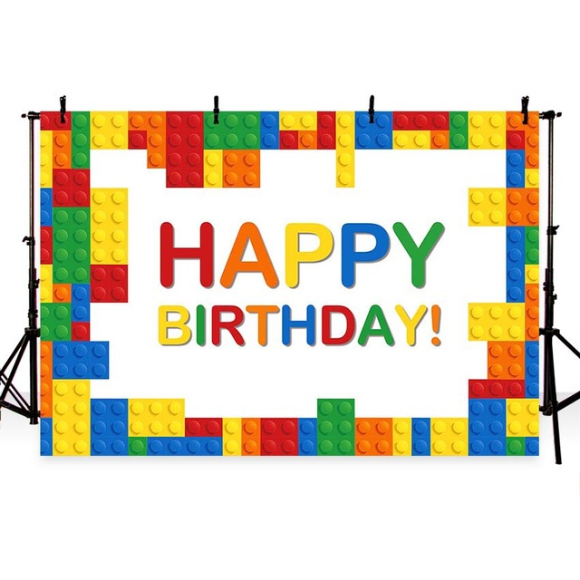Photography background Cartoon Colorful Lego Baby Birthday ...