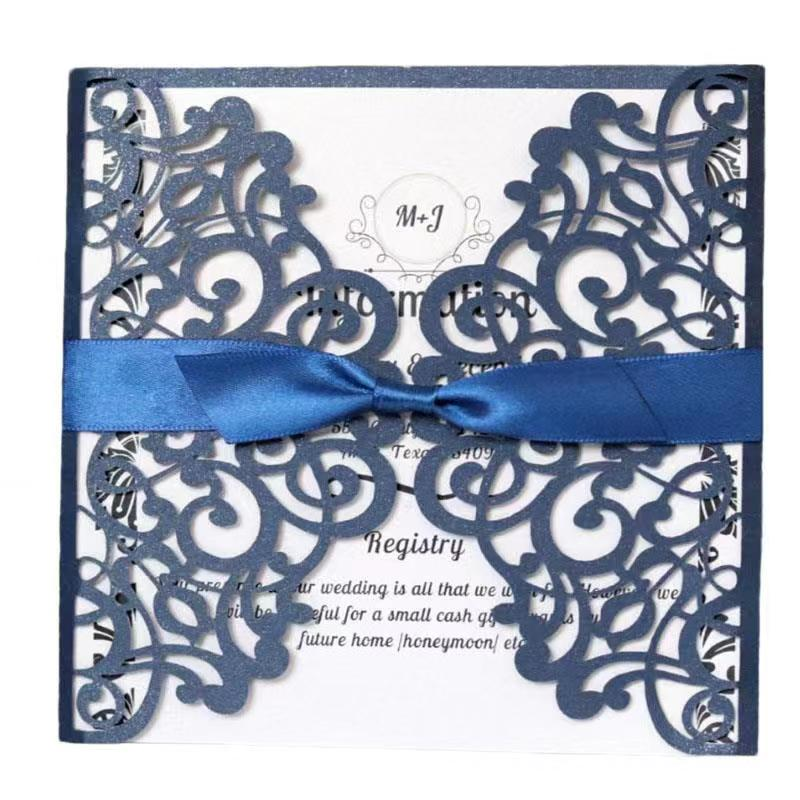 10pcs Luxury Navy Blue Wedding Cards Invitations with ribbon Blank inner Hot sale Greeting Card Universal