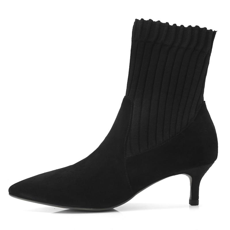 41 Punta Mujer Zapatos De Tacones Delgados 33 Otoño Cr1430 Para Med Tamaño Gran Black Bolso Invierno Mujeres Tobillo Botas Enmayer xZvw0gq6an