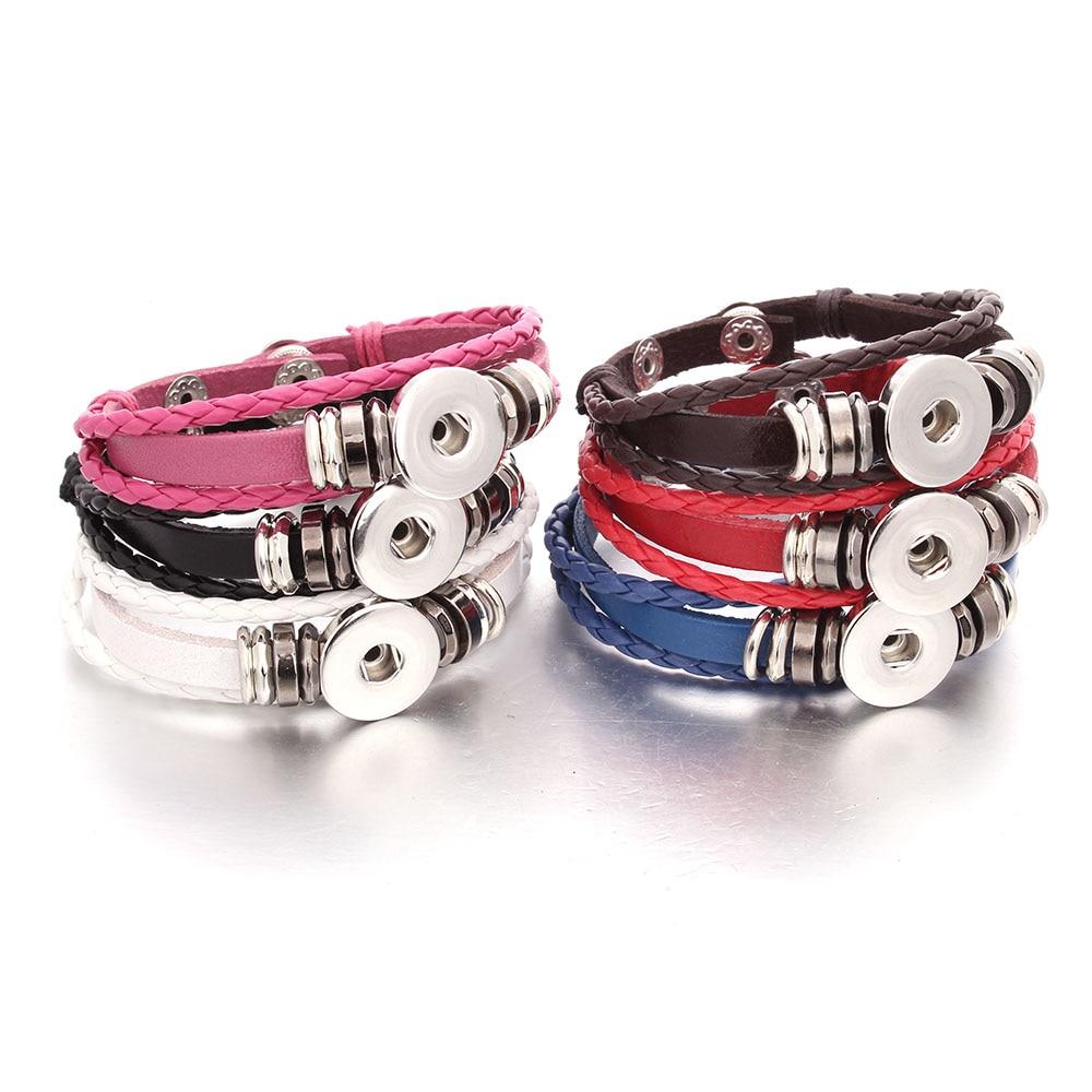Hot Snap Bracelets & Bangles Newest Design Vintage Style Beads Leather Bracelet FIt 18/MM Snaps Button Jewelry ZE407 4