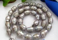 Women Gift Freshwater  18mm rice baroque gray freshwater pearl necklace