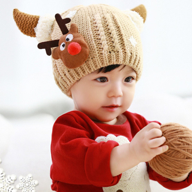 b40a53aceb1 Baby Hat Handmade Wool Ear Knitting Hats Autumn Winter Hat Warm Caps Boys  Girls Hats Bonnet