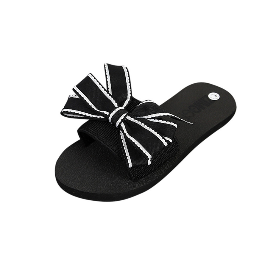 New Arrival Women Butterfly-knot Summer Sandal Slipper Indoor Outdoor Flip-flops Round Toe Casual Slides Pure color Beach Shoe S venchale 2018 summer new cow leather solid outside butterfly knot high thin heel three colors casual pointed toe women s slides