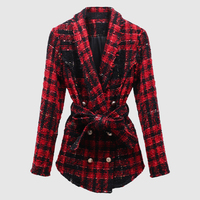 New Fashion 2018 Fall Winter Stylish Designer Wool Jacket Women's Lion Buttons Double Breasted Plaid Tweed Wool Coat