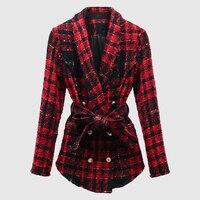 Nowa Moda 2017 Jesień Zima Projektant Lwa Przyciski Podwójne Piersiach Plaid Tweed Wełny Kurtki damskie Płaszcz Z Wełny