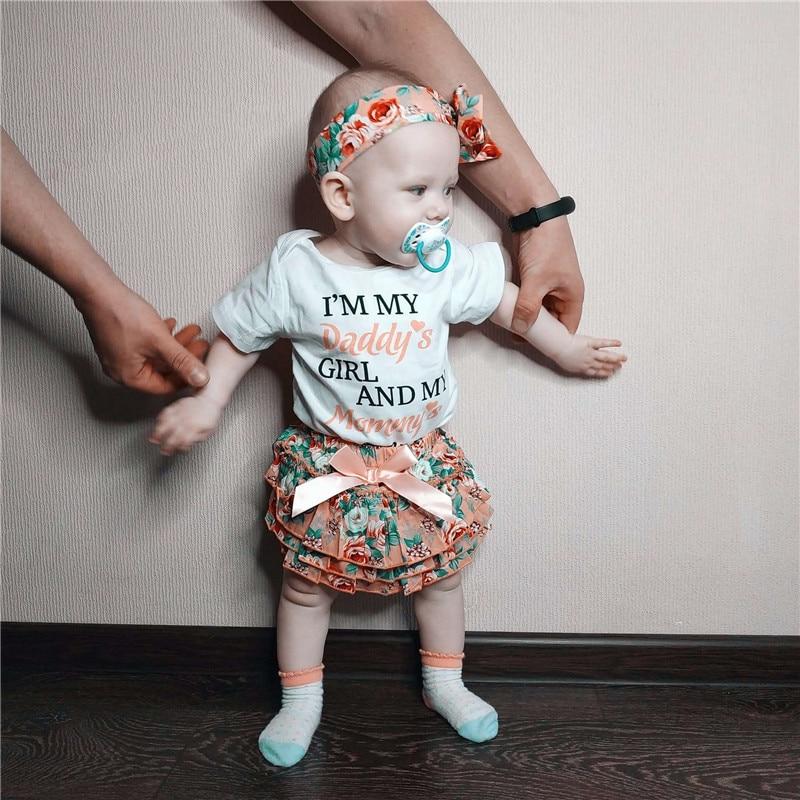 Newborn Baby Girls Romper Tops Jumpsuit Tutu Pants Headband Outfits Clothes Set