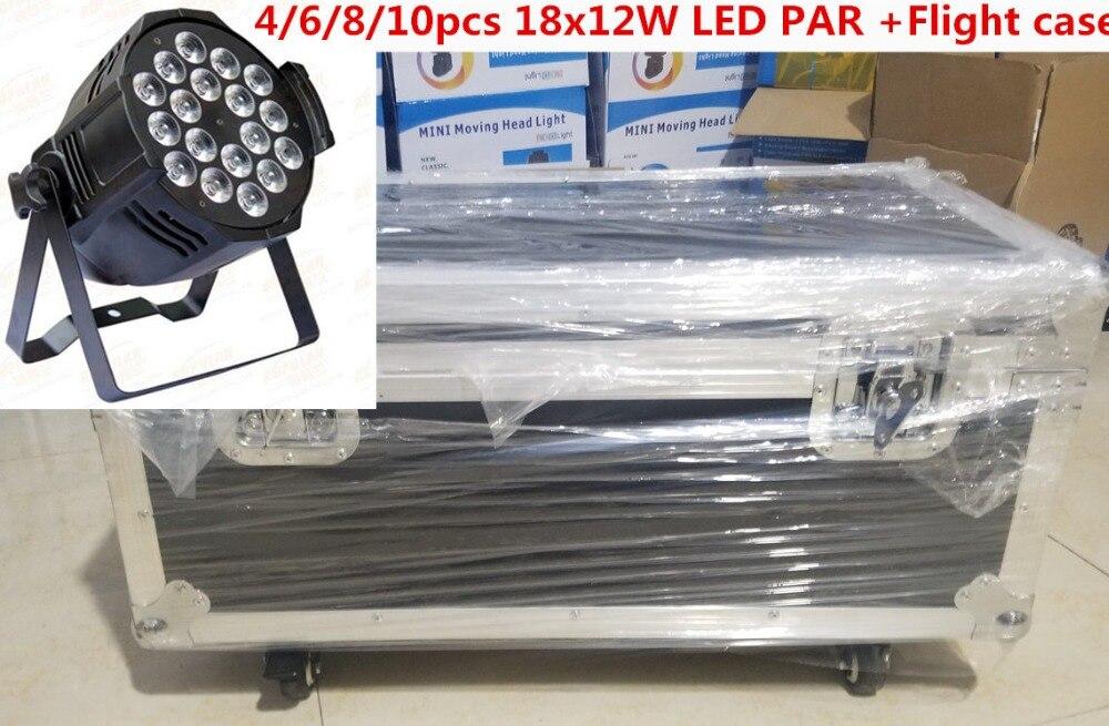 Flight Case with 4/6/8/10pcs 18x12W LED Par Lights rgbw 4in1 led par light led wash light DJ DMX