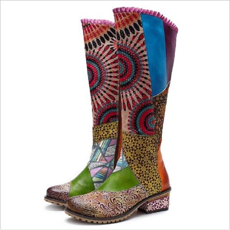 Nuevas botas de mujer de cuero genuino estilo nacional Retro Casual colores mezclados hasta la rodilla alta altura flor más tamaño botas 20181104-in Botas por la rodilla from zapatos    2