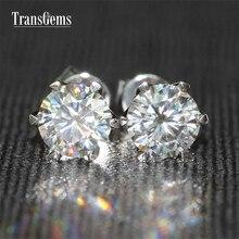 TransGems 1.6 TCW Carat Lab Grown Moissanite Diamond Stud Earrings Solid White Gold Push Back for Women Birthday Gift