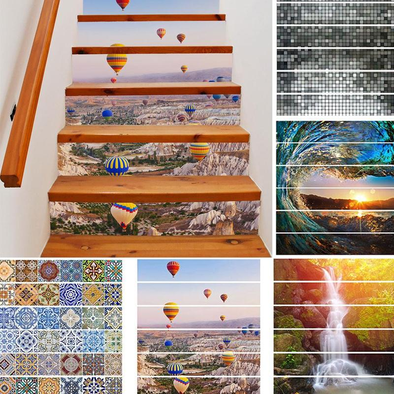 New 6PCS 3D Stair Stairway Removable <font><b>Wall</b></font> Stickers Mural Decoration 100CM*18CM