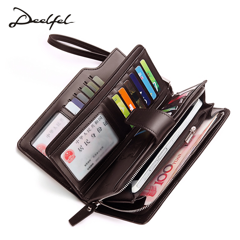 Deelfel Brown Purse For Men Genuine Leather Men's Wallets Long Male Wallet Card Holder Clutch Bags Soft Leather Purse Walets 2017 vintage men hunter letters long brown pu leather wallet purse card holder clutch wallets gifts lt88