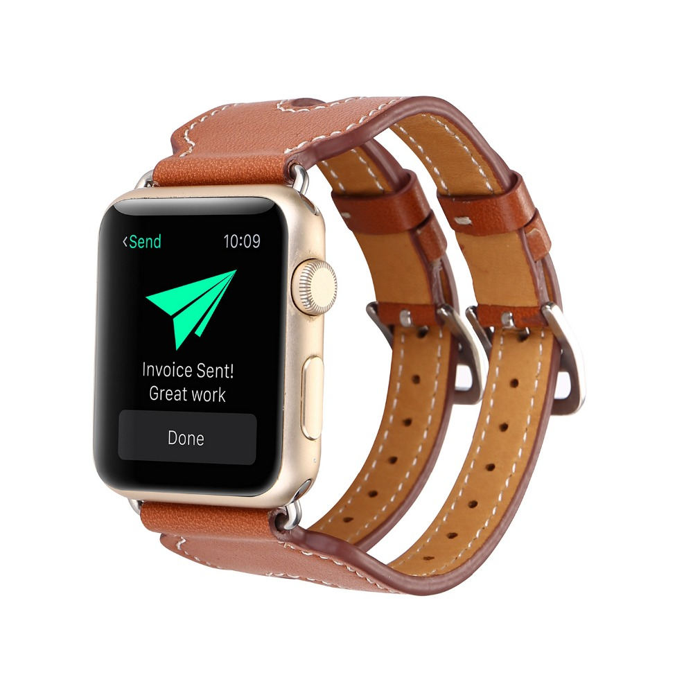 38/42mm Apple Watch Band Genuine Leather Bracelet Bands Men Fashion Casual iWatch Strap Replacement Strap with Metal Adapter