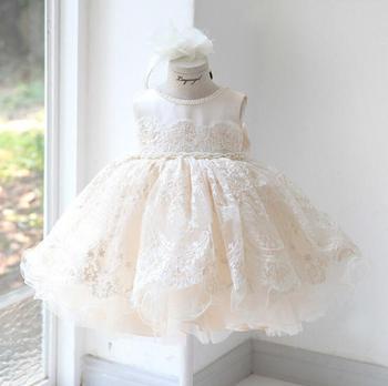 7e2f7b3b087e Bebé niña 1 er cumpleaños vestido blanco niño niña fiesta vestido bebé niña  ropa niñas princesa ropa para 1-10 año