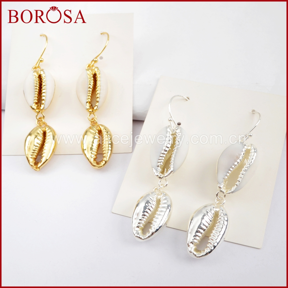 BOROSA 5Pairs Gold Color Double Cowrie Shell Earrings Jewelry, Natural Trim Shell Drop Earrings Jewelry for Women G1629 S1629