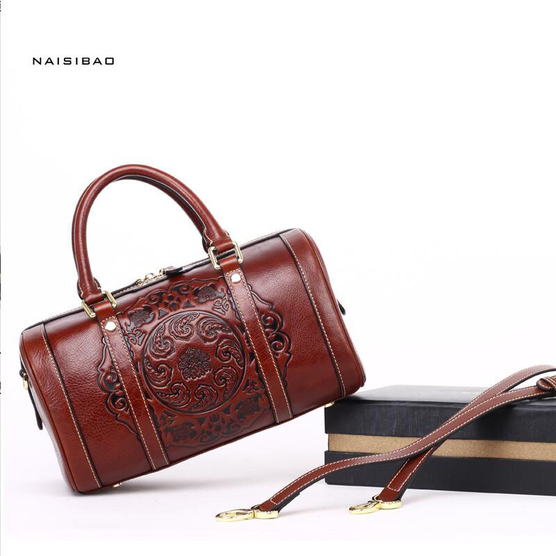 Famous brand top quality  Genuine Leather women bag  Retro handbag Totem embossed shoulder bag Boston bag