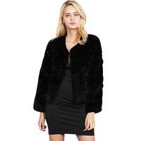 Thời trang Nữ Faux Fur Coat Winter Ấm Fluffy Áo Khoác Ngắn Màu Đen/Trắng Dài Tay Áo O-Cổ Cộng Với Kích Thước 3XL Áo Khoác áo khoác ngoài Casacos