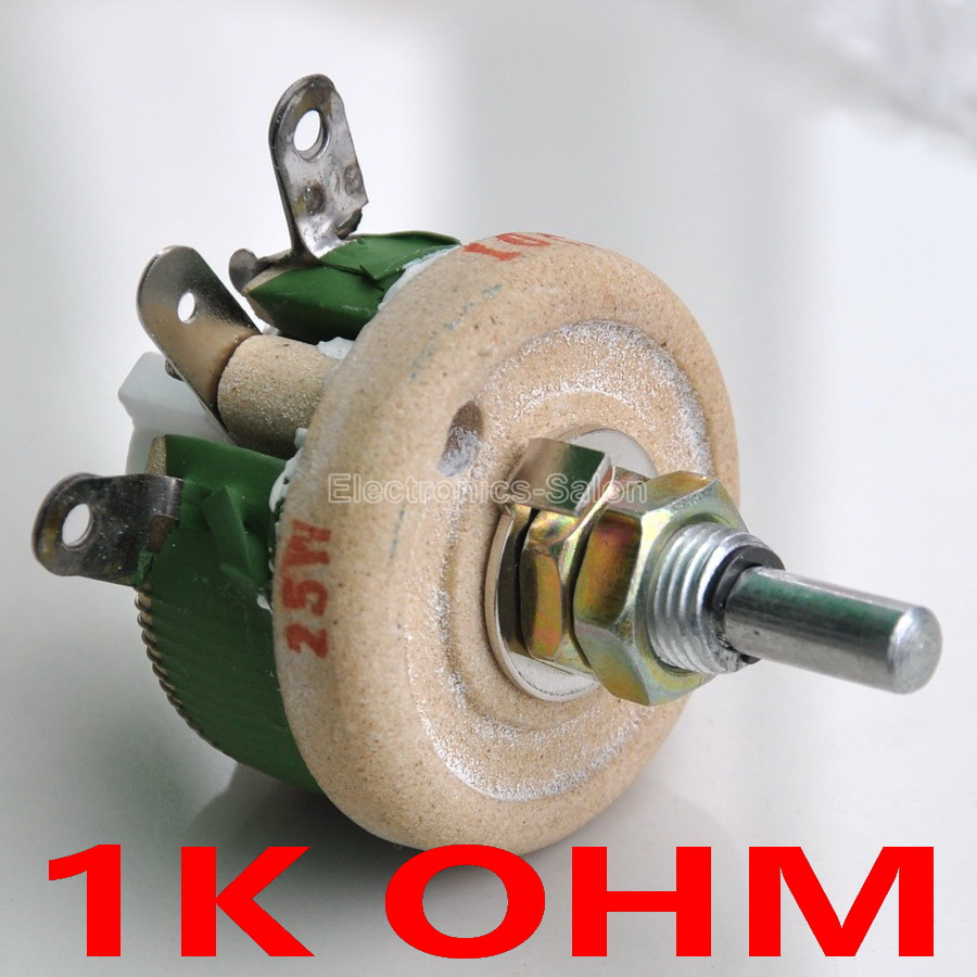 25W 1K OHM High Power Wirewound Potentiometer, Rheostat, Variable Resistor, 25 Watts.variable resistorwirewound potentiometerpower potentiometer -