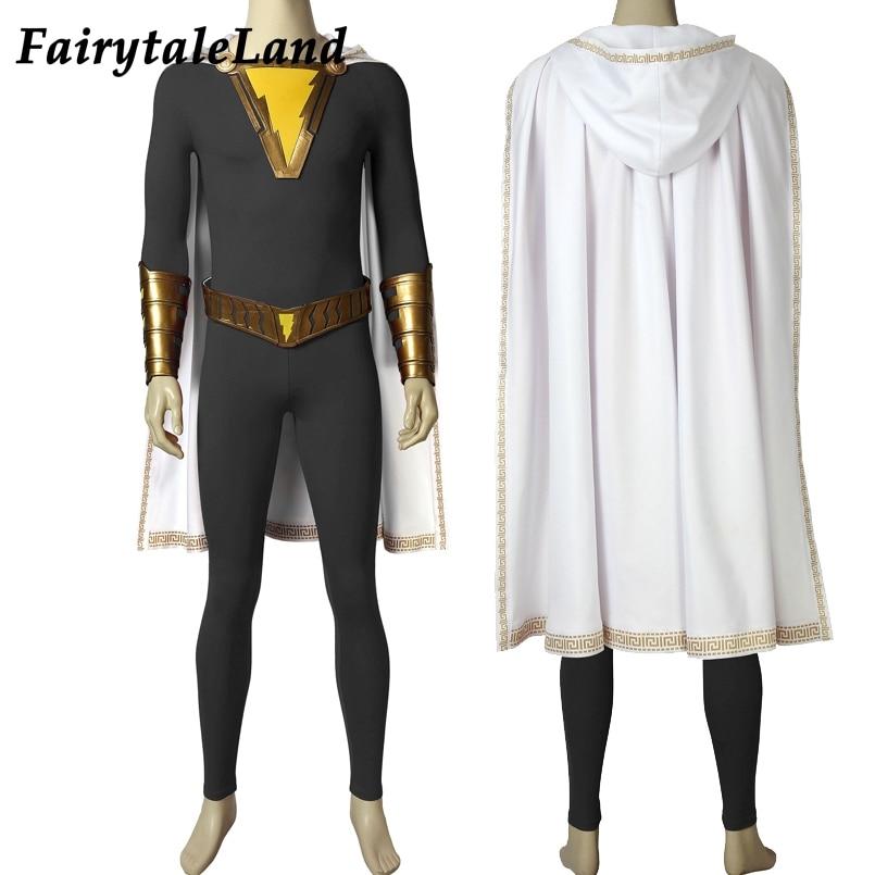 Shazam Family Superhero Grey Shazam Cosplay Eugene Choi Costume Halloween Full Outfit Custom Made Jumpsuit cosplay
