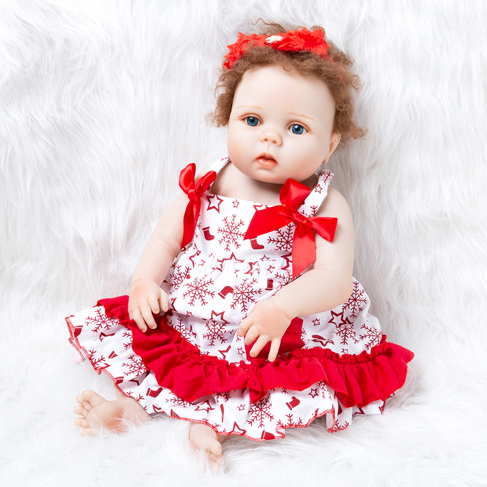 Toys & Hobbies Supply 55cm New Lifelike Soft Silica Gel Baby Girl Doll With Clothes Dress Pacifier Bottle Newborn Baby Sleeping Bath Toy Gifts