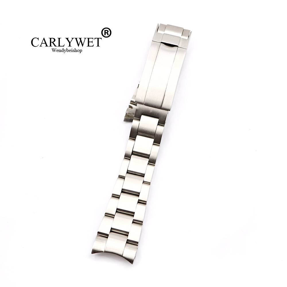 CARLYWET 20 21mm Solid Stainless Steel Screw Link Replacement Wrist Watch Band Bracelet Glide Flip Lock Clasp For Oyster Deepsea|Watchbands|   - title=