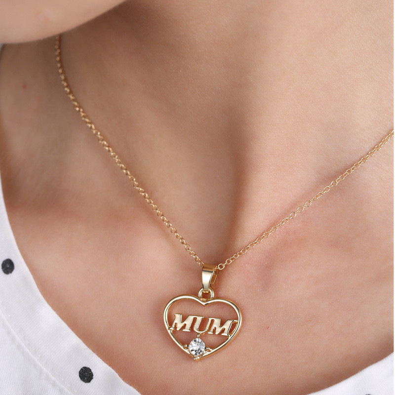 "ZN 2019 Gold Color Love ""Mum"" Crystal Heart Pendant Necklace Mother's Day Gifts for mother Sweater Chain Necklaces Best Gifts 26"