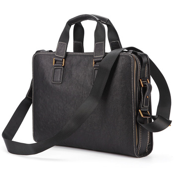 Business Genuine Leather bag 14 15.4 inch  Real 100% Cow Leather Notebook messenger 15 Men Leather crossbody shoulder bag 2019