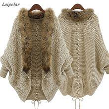 Fashion Women Faux Fur Collar Coat Batwing Sleeve Loose Casual Warm Cardigan Shawl Sweater Laipelar недорого