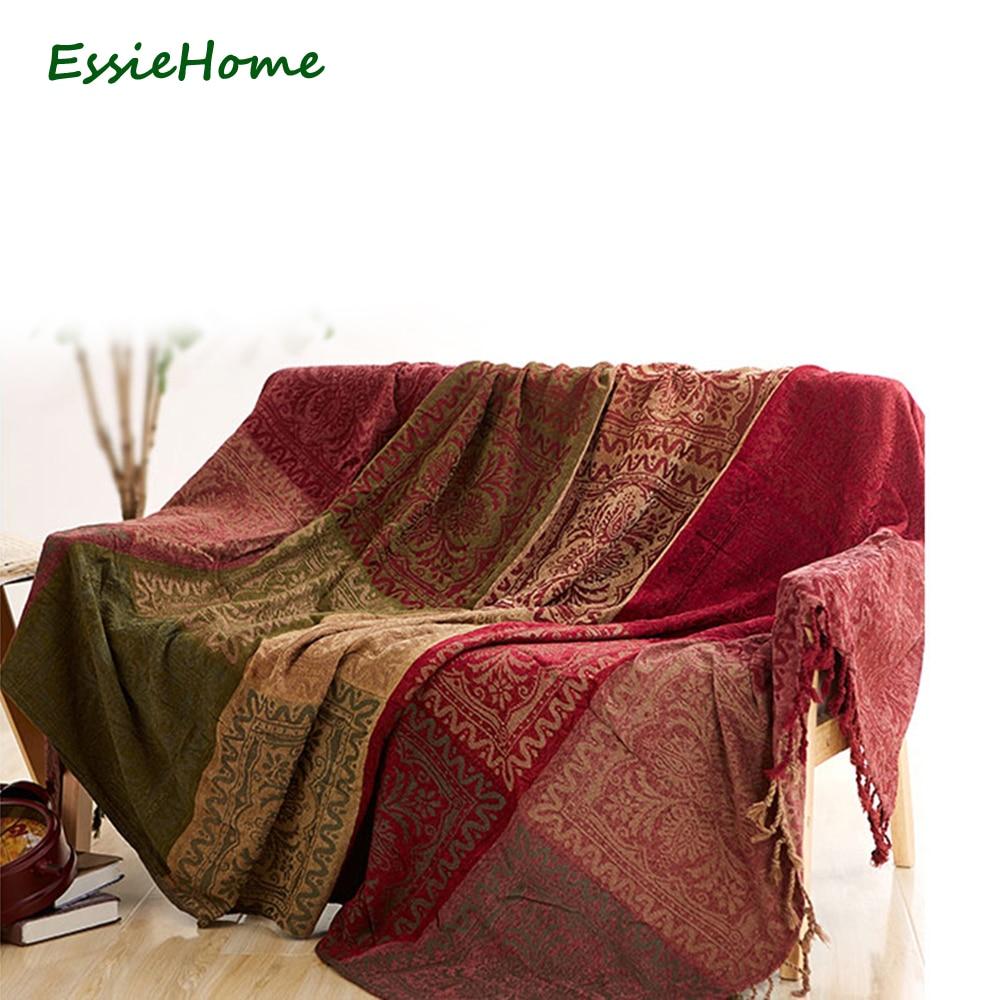 Sofa blanket  Chenille Red green Bohemia blanket for sofa  living room bedroom rug carpet ethnic pattern Bedspread Table Cloth