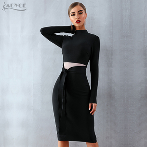 Image 3 - ADYCE Women Bandage Dress 2020 New Arrival Autumn Black Long Sleeve Bow Bodycon Club Dress Celebrity Party Runway Dress Vestidos