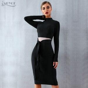 Image 3 - ADYCE kadınlar bandaj elbise 2020 yeni varış sonbahar siyah uzun kollu yay Bodycon kulübü elbise ünlü parti pist elbise Vestidos