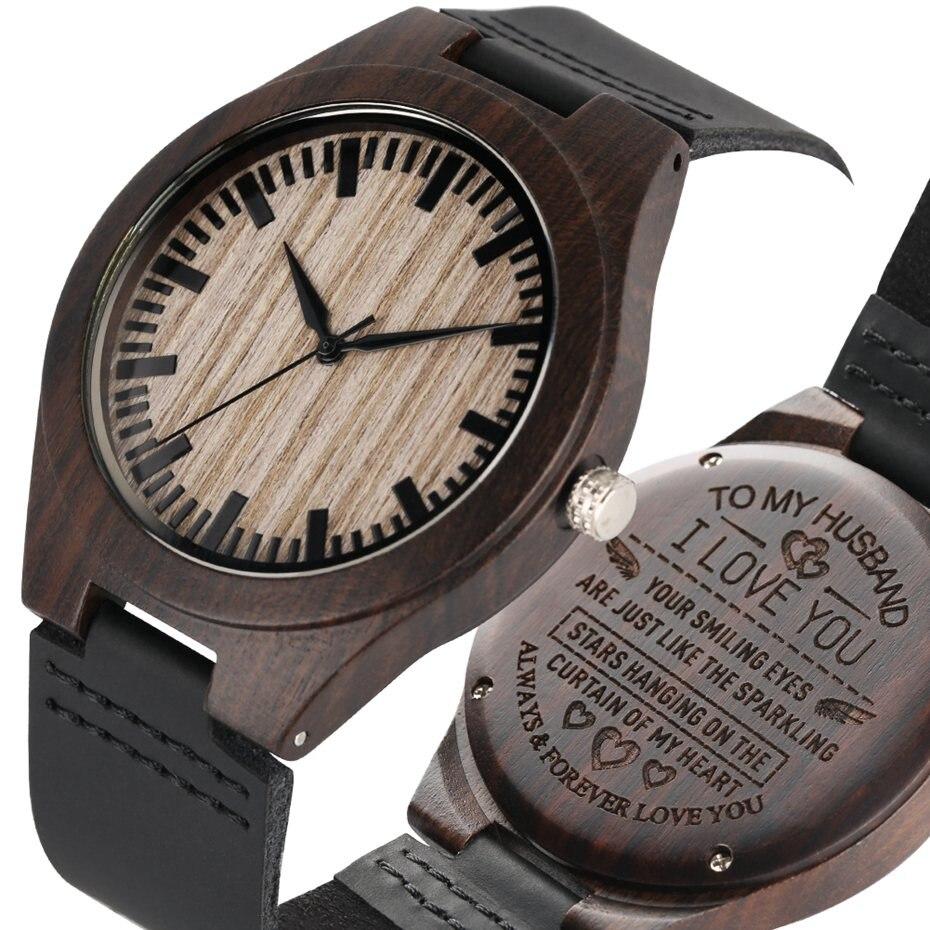 Wooden Watch Men Clock Male Engraved TO MY Husband Wooden Watches Quartz Anniversary