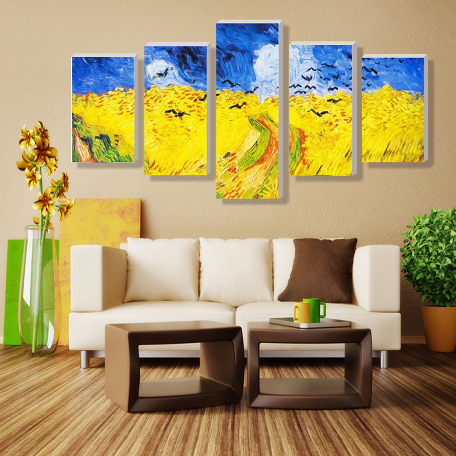 2016 Wall Pictures For Living Room 5 Panel Tiger Animal Modular ...