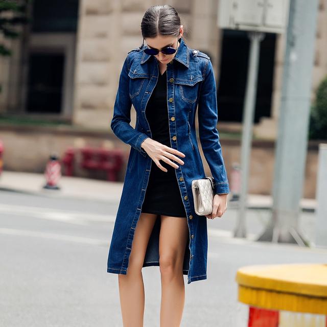 Top fashion womens casual casaco de algodão longo trincheira marca clothing denim feminino calça jeans de cor azul único breasted casacos 4xl