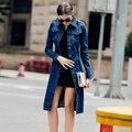 Top moda mujeres casual algodón larga trinchera abrigo brand clothing jeans de mezclilla femenina de color azul solo pecho abrigos 4xl