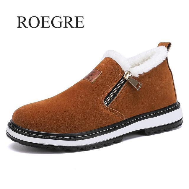 Fashion Black Mens Boots Designer Winter Shoes Men Warm Short Plush Casual Fur Boots Men 2018 New Keep Warm Winter Male Boots