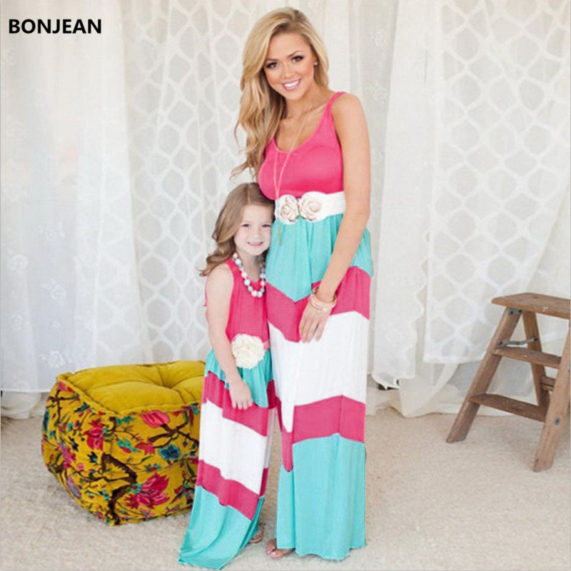2019 Mommy And Me Family Matching Mother Daughter Dresses Clothes Striped Mom And Daughter Kids Outfits Ma E Filha Maxi Dress