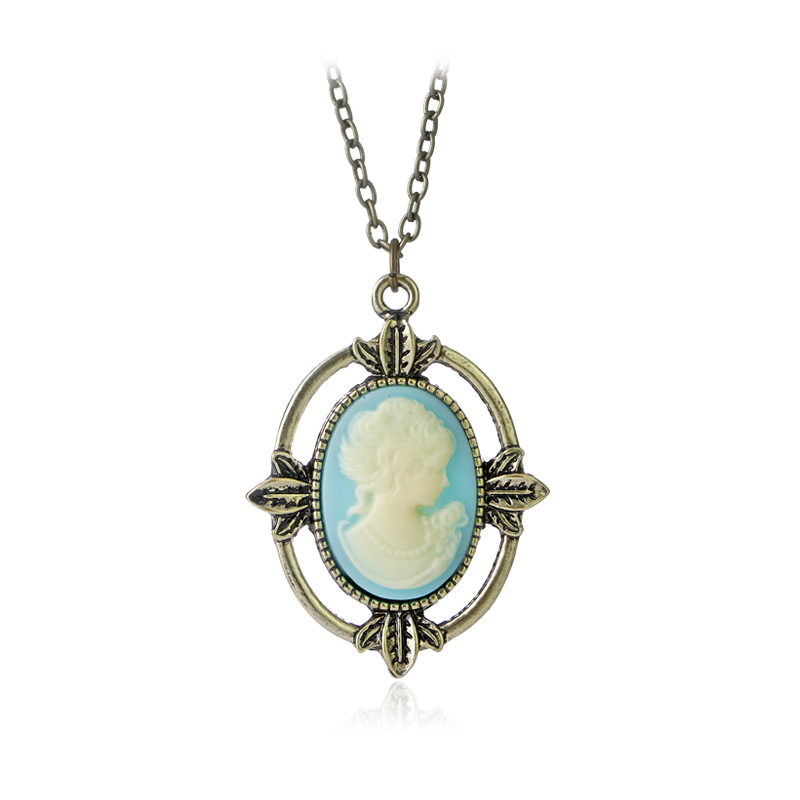 The Vampire Diaries Jewelry Katherine Pierce Vintage Necklace Bronze Light Blue Cameo Pendant Necklace Christmas Gift ...