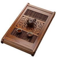 Black ebony tea tray solid wood Home rosewood tea table Simple water storage drainage Kung Fu teaware large rectangular tray