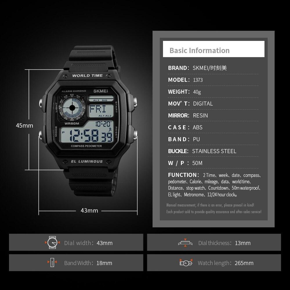 745183a806 SKMEI 1373 LED Digital Homens Relógio À Prova D  Água Calorias Pedômetro  Bússola Multifunções Moda Ao Ar Livre Relógio Do Esporte relógio de Pulso  dos ...